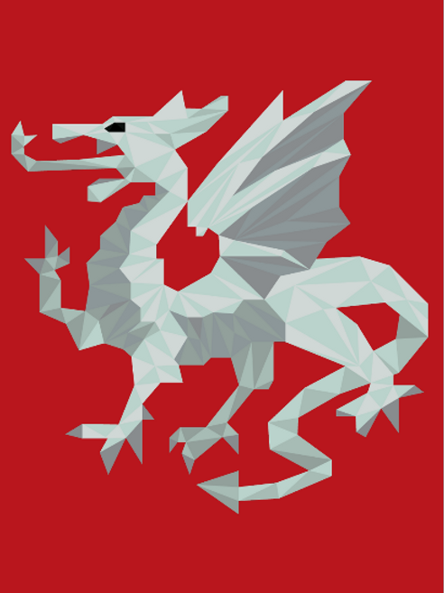 Geometric White Dragon - Vector illustration postcard
