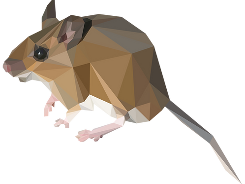 Geometric Wood Mouse - Vector illustration postcard