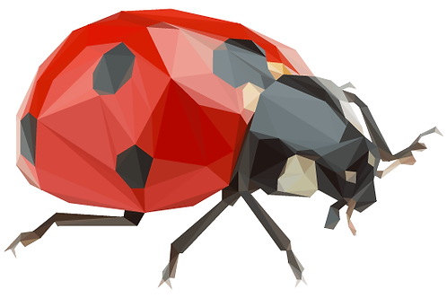 Geometric Ladybird - Vector illustration postcard