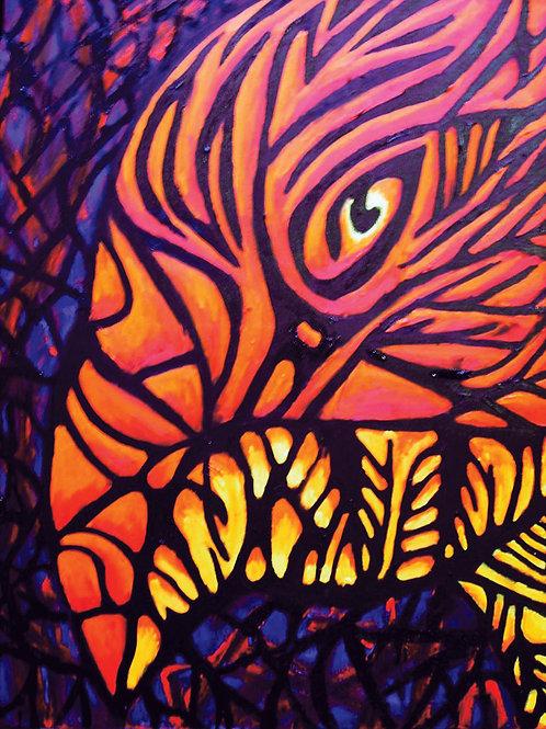 Stained Glass Phoenix - Fine art postcard