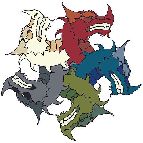 Dragons - Vector illustration postcard