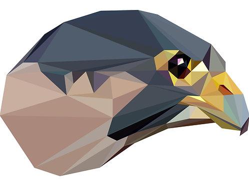 Geometric Peregrine Falcon - Vector illustration postcard