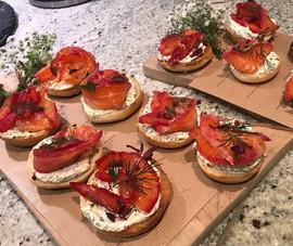 Mini bagels, beetroot cured salmon