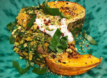 Squash Dal with spinach, pistachio and coconut yoghurt