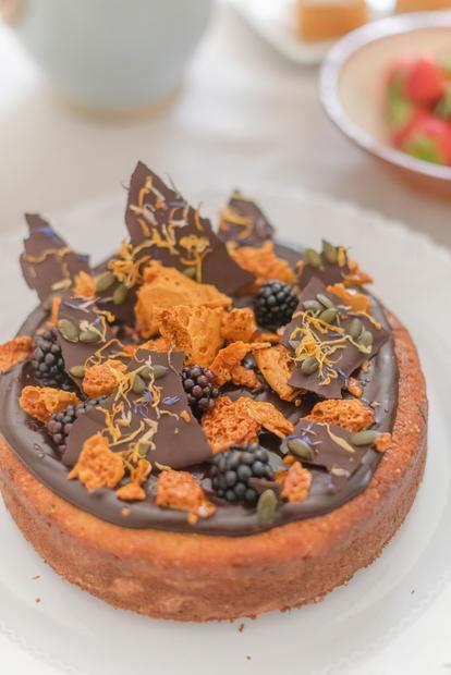 Hazelnut + Ricotta Cake with honeycombe