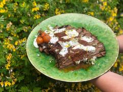 Beef brisket, roast tomato sauce and tzatziki