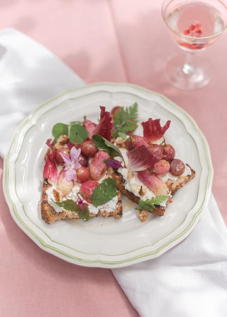 Roast Grape & Radish with Ricotta and honey