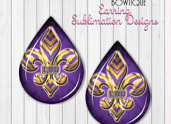 "FLEUR DE LIS PURPLE GOLD TIGERS 2"" Earring Sublimation Design TearDROP DOWNLOAD"