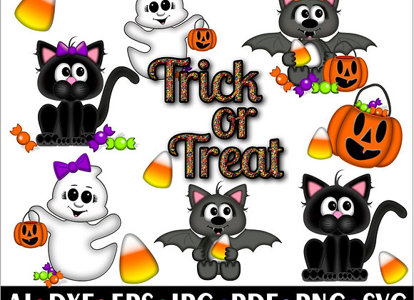 CUTE HALLOWEEN CLIPART  Svg- Cute Bat  Cat Ghost Candy Corn Svg Cricut