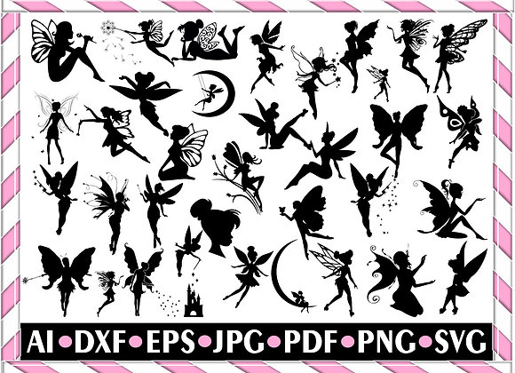Fairy SVG - Cartoon Svg - Fairy Silhouette - SVG Cut Files- Fairy Bundle SVG