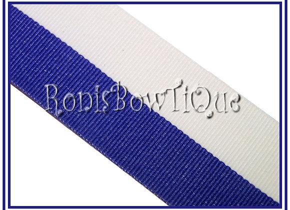 Royal Blue White Bi Stripe Cheer Collegiate Ribbon
