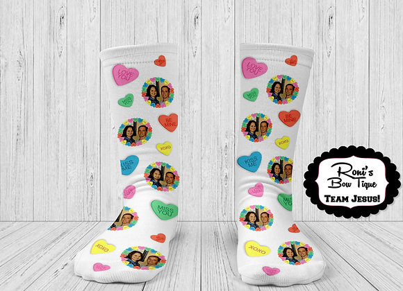 Valentines Day Conversation Hearts Printed Socks Personalized with your Picture