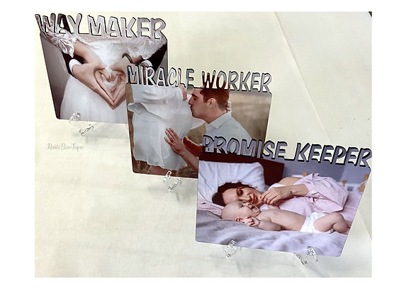 Way Maker Miracle Worker Promise Keeper PHOTO GIFT SET OF 3 W/ PHOTO STANDS