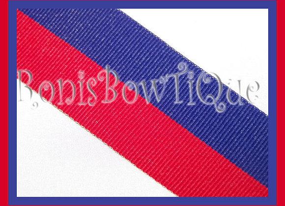 Royal Blue Red Bi Stripe Cheer Collegiate Ribbon