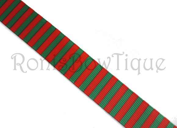 "3/8"" CHRISTMAS RED GREEN STRIPES RIBBON"