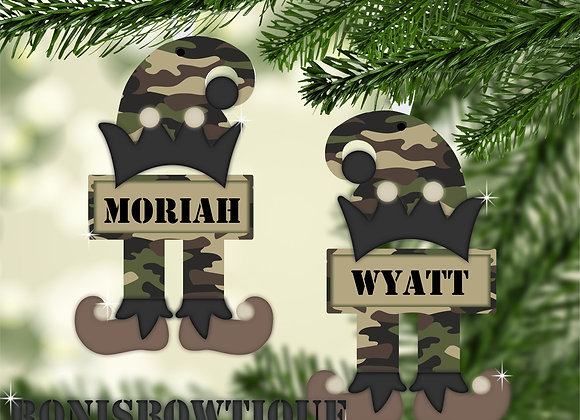 Army Military Elf Personalized Christmas Ornament Gift