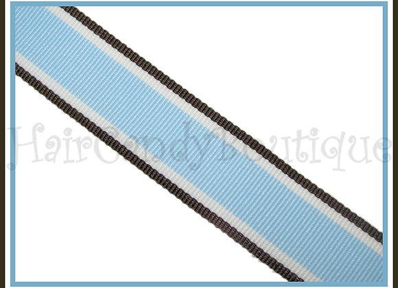 "3/8"" Blue Brown Hot Trax Stripe Ribbon - 1 YARD"
