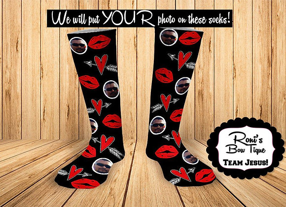 Lips and Heart Black Socks Personalized Socks with picture Valentines Day Gift