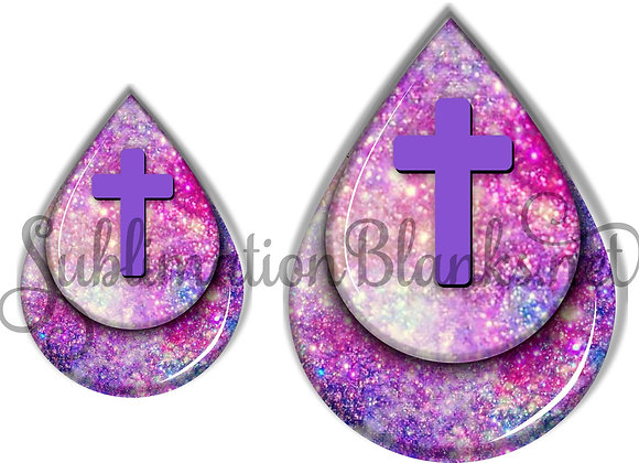 CROSS GALAXY PINK Purple Stars Sublimation Designs Teardrop Digital Designs