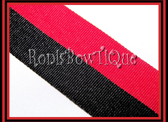 Red Black Bi Stripe Cheer Collegiate Ribbon