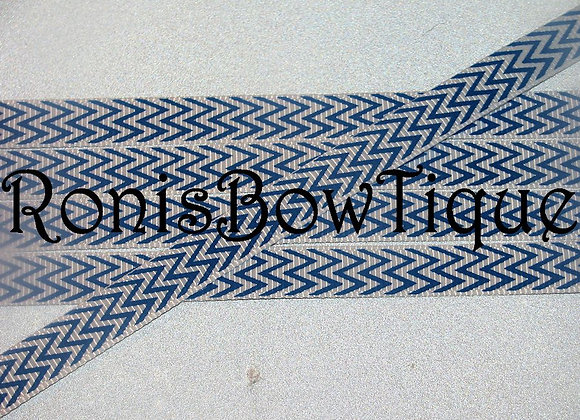"""3/8"""" ROYAL BLUE WHITE CHEVRON ZIG ZAG PRINT"""