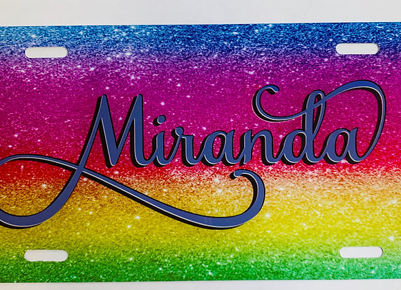 Rainbow Glitter Personalized License Plate Car Tag