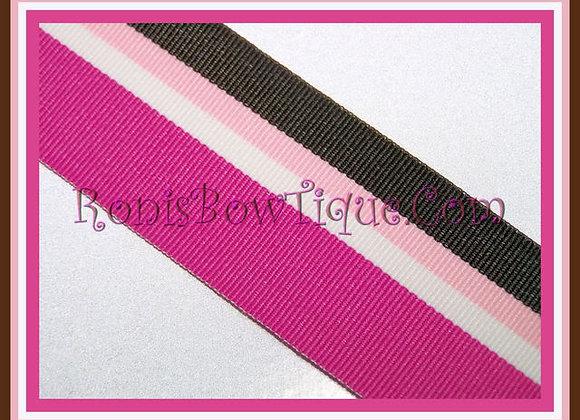 Chocolate Raspberry Stripe Ribbon