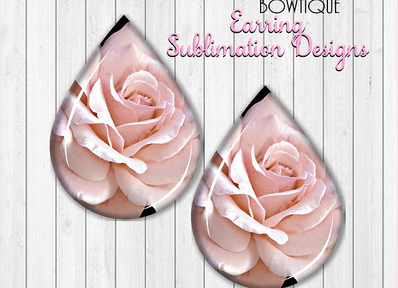 "PINK ROSE FLOWER 2"" Earring Sublimation Design TearDROP DIGITAL DOWNLOAD PNG"