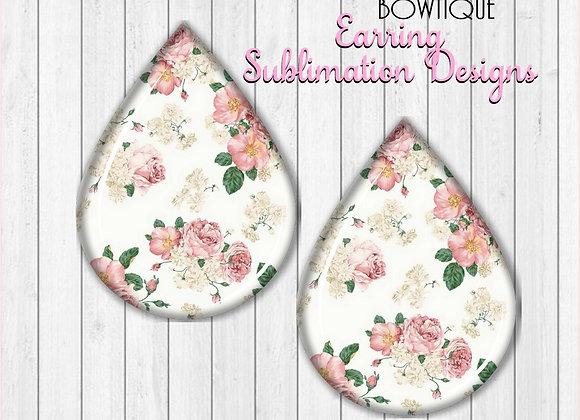"""Vintage Flowers 2"""" Earring Sublimation Design Teardrop PNG Digital download"""