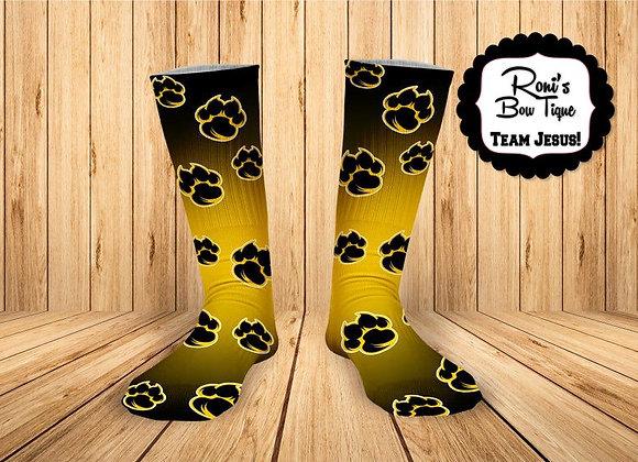 Tiger Paw Black and Yellow Gold Printed Socks- Kinder Yellowjackets Spirit Socks