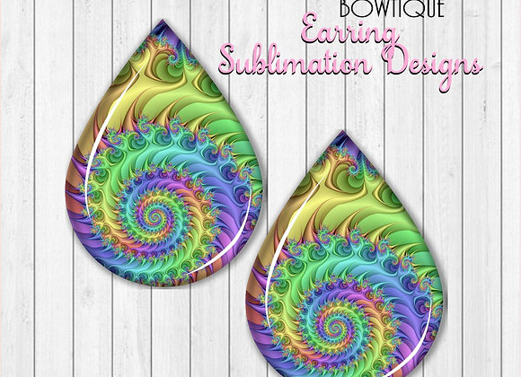 "RAINBOW SWIRL 2"" Earring Sublimation Design TearDROP"