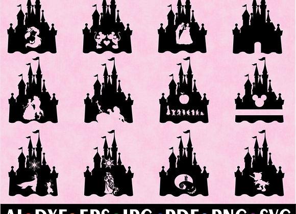 Disney Castle SVG Disney Princess Bundle Clip Art Cut Files