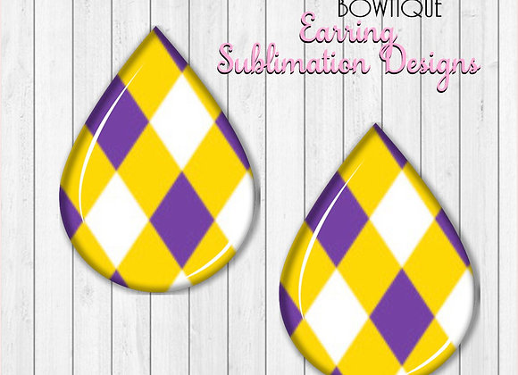 "Purple Gold White DIAMONDS Tigers 2"" Earring Sublimation Design TearD"