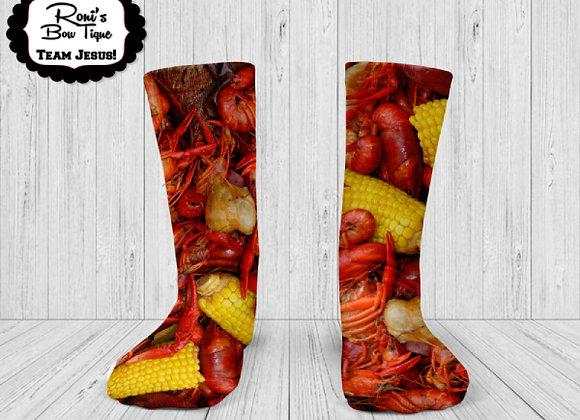 Boiled Crawfish Corn and Potatoes PRINTED SOCKS Cajun Theme Louisiana