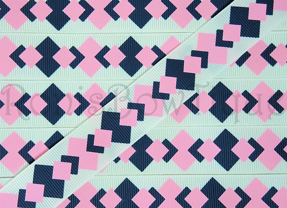 "7/8"" NAVY PINK SQUARES RIBBON"