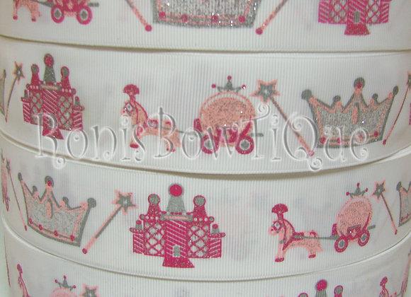 Princess Carriage Tiara Castle Silver Glitter