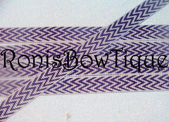 "3/8"" PURPLE WHITE CHEVRON ZIG ZAG PRINT"