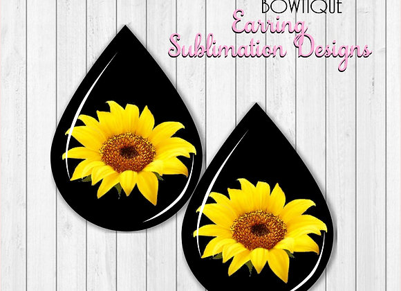 "SUNFLOWER Earring Sublimation Design Teardrop Digital Download 2"""