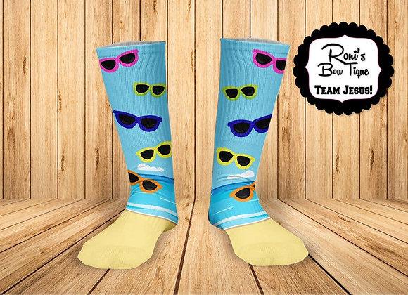 Beach sunglasses Printed Socks- Sunday Fun day Summer