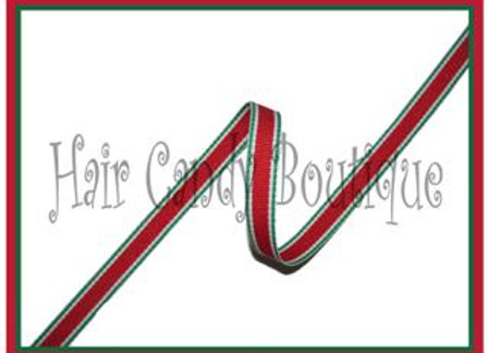 "3/8"" Holiday Hot Trax Stripe Ribbon - 1 YARD"