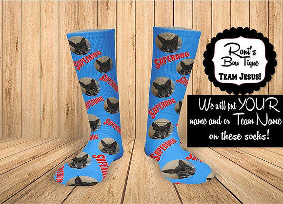 Superdog- ADD your own image -Print Sock Personalized Socks