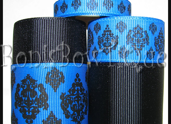 BLUE DAMASK TOILE Ribbon Lot