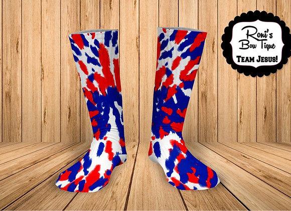 Red White and Blue TieDye Printed Socks Fun Socks