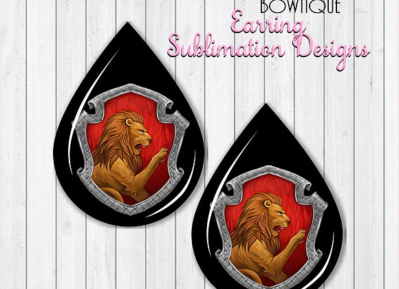 "Gryffindor Lion Harry Potter 2"" Earring Sublimation Design Teardrop Download"