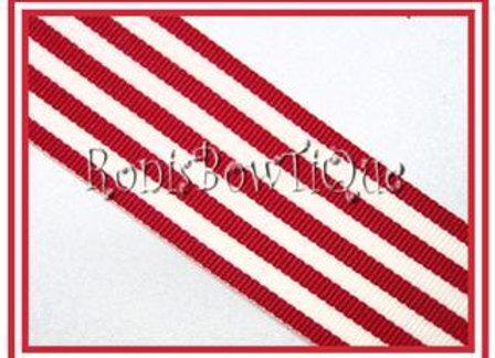Red Monarch Stripe Ribbon 1 YARD