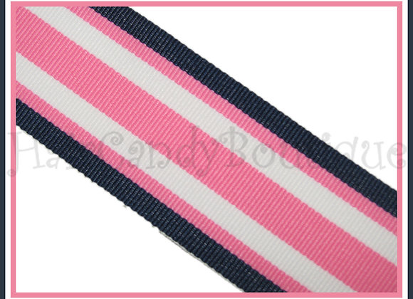 Navy Pink Surfboard Stripe Ribbon