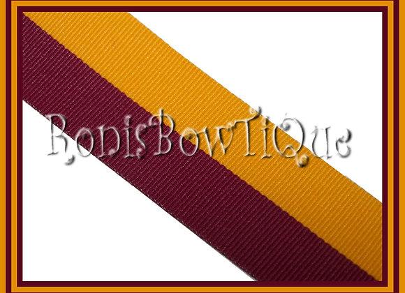 Maroon Gold Bi Stripe Cheer Collegiate Ribbon