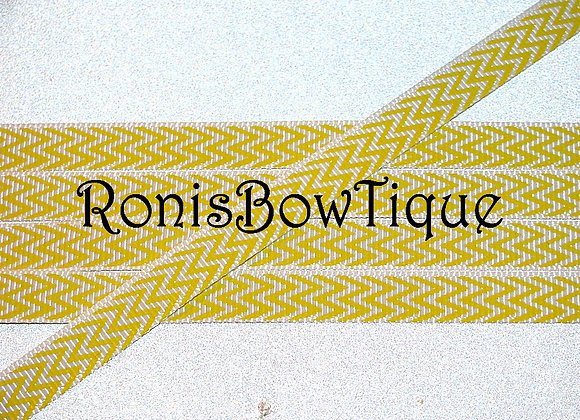 "3/8"" YELLOW WHITE CHEVRON ZIG ZAG PRINT"