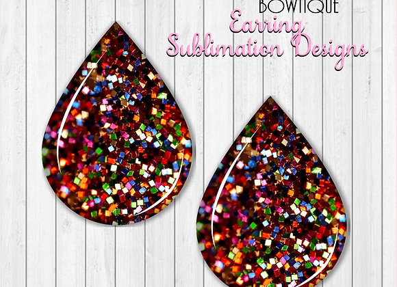 "RAINBOW GLITTER 2"" Earring Sublimation Design TearDROP Digital DOWNLOAD PNG"
