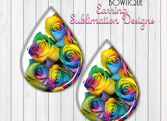 "RAINBOW ROSES 2"" Earring Sublimation Design Teardrop Digital Download png"